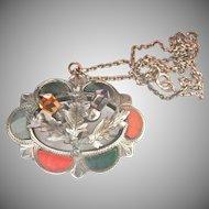 Antique Scottish Agate Thistle Gemstone Silver Brooch