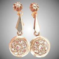 18K Gold Antique Rose-Cut Diamond Drop Earrings