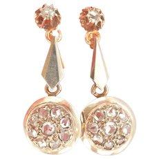 18K Gold Antique Rose-Cut Diamond Drop Earrings
