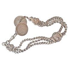 Victorian Engraved Silver Slide Coin Bracelet