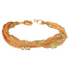 22K Gold Thread Multi-Strand Peridot Bracelet w/14K Clasp
