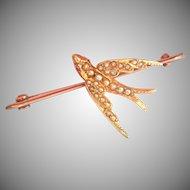 Antique 15K & 9K Gold Seed Pearl Ruby Swallow Bird Pin Brooch