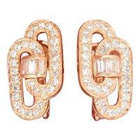 18K Gold FRENCH Diamond Vintage Earrings