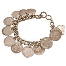 Antique British Silver 13 Coin Charm Bracelet