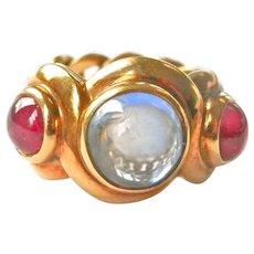 Bvlgari 18K Sapphire Ruby Chain Link Vintage Ring