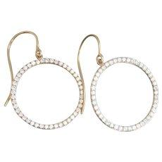 18K Gold 1.25 Ct. Diamond Hoop Vintage Earrings