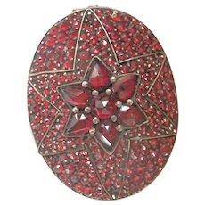 Victorian Bohemian Garnet Star-set Locket Gilt Antique Oval  Pin