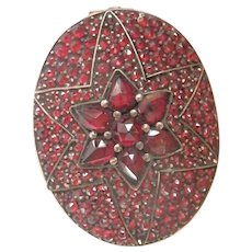 Victorian Bohemian Garnet Star-set Locket Gilt Antique Oval  Pin