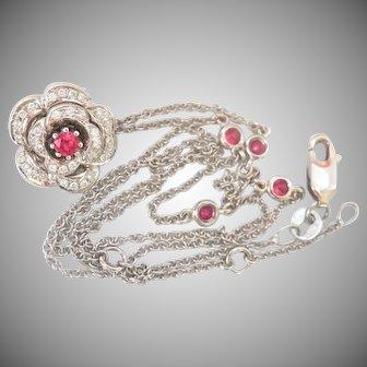 18K Gold Mouawad Ruby Diamond Flower Necklace