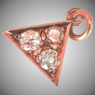 14K Gold 0.42 ct. Diamond Triangle Vintage Pendant