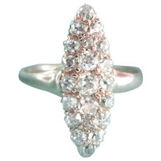 Antique 14K Gold 1.00 ct. Diamond Marquise Shaped Cluster Ring