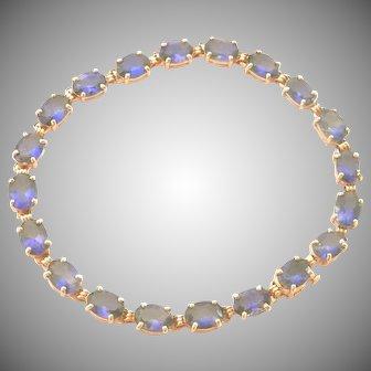 14K Gold 9.6 ct. Tanzanite Link Bracelet