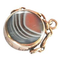 Heavy 9Ct 9K Gold Agate & Tiger's Eye Spinning Vintage Fob, David Scott Walker