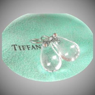 Authentic Tiffany & Co. Peretti Rock Crystal Bean Drop Platinum Earrings