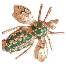 14K Gold 0.80 ct. Emerald Bee Bug Pin/Pendant