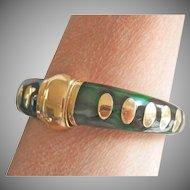 18K Gold Authentic SOHO Green Enamel Bracelet