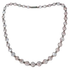 Antique Moonstone Strand Silver Necklace