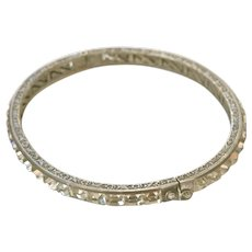 Art Deco Sterling Silver Paste Bracelet Bangle