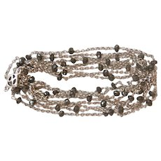 "Long 61"" David Yurman Silver Onyx Station Chain Necklace"