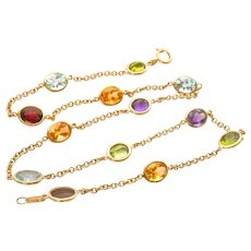 "Fine 18K Gold Toni Cavelti Birks 19.5"" Multi-stone Necklace"