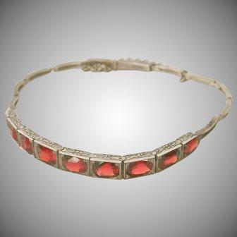 Arts & Crafts Original 7.50 ct. Garnet and Silver Bracelet