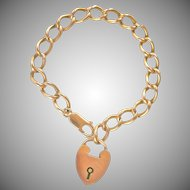 14K Yellow Gold Heart Bracelet with Padlock Charm
