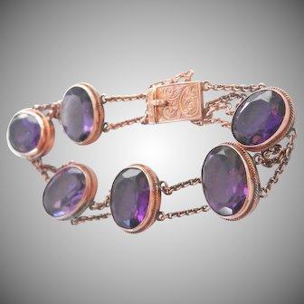 Antique 9K 9CT 27.0 ct. Amethyst Link Bracelet
