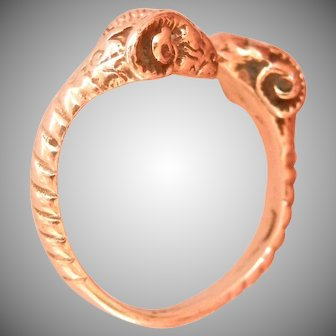 Vintage 14K Gold Double Ram Head Ring