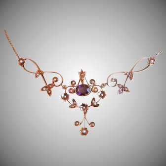 Victorian 14K Gold Amethyst Seed Pearl Lavalier Necklace