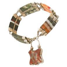 Antique Scottish Agate Silver Padlock Victorian Bracelet