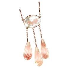 Vintage Rock Crystal Negligee Silver Drop Necklace