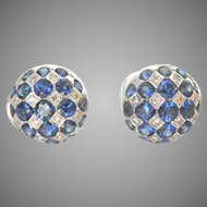18K White Gold 4.20 ct. Sapphire Diamond Button Earrings