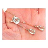 14K Gold Silver Pe-1917 Russian 11.05 ct. Aquamarine Negligee Necklace