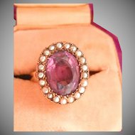 Victorian 18K & 9K Gold 4.50 ct. Amethyst Seed Pearl Ring
