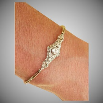 Platinum-topped 14K gold Diamond Antique Bracelet