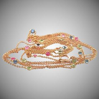 "14K Gold 50"" long Station Necklace, Sapphire, Ruby, Peridot"