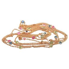 """14K Gold Antique 50"""" long Station Necklace, Sapphire, Ruby, Peridot"""