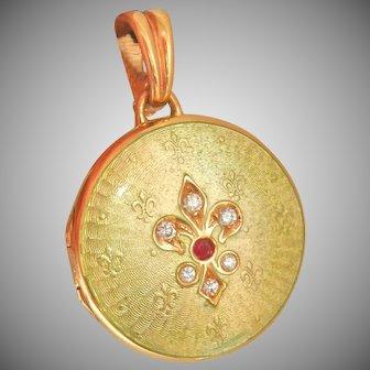 18K Gold Enamel Victor Mayer Fabergé Ruby Diamond Locket Pendant