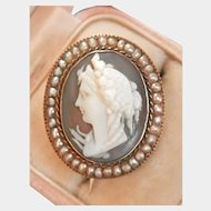 Final Markdown! 15K Gold Victorian Hand-carved Hard stone Cameo Seed Pearl Pin
