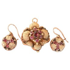 Georgian 12K Gold Amethyst Garnet Locket Pendant Earrings Demiparure