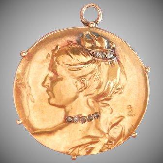 18K Gold Art Nouveau Louis Rault French Diamond Pendant