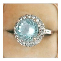 14K White Gold 4.01 ct. Aquamarine Diamond Cocktail Ring
