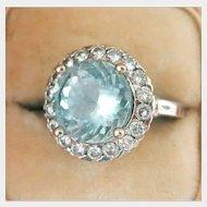 14K White Gold 4.01 ct. Aquamarine Diamond Cocktail Ring