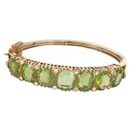 14K Gold Victorian 37.00ct. Peridot Diamond Hinged Bracelet