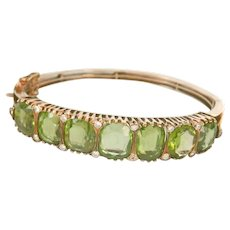 14K Gold Victorian 37.00ct. Peridot Diamond Hinged Bracelet