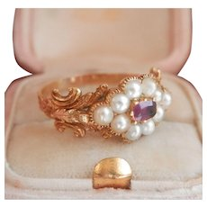 18K Gold Ornate Georgian Pearl Ruby Ring