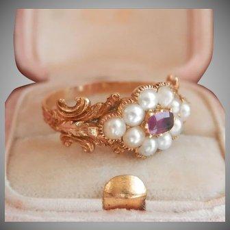 18K Gold Ornate Georgian Pearl Ruby Ring