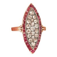 Pre-1917 Russian Imperial 14K Gold Silver Ruby Diamond Marquise Ring