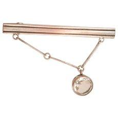 Soviet Russia Vintage 875 Silver Rock Crystal Tie Clip