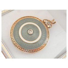 14K Gold Antique Guilloche Enamel Diamond Sapphire Hinged Locket Pendant